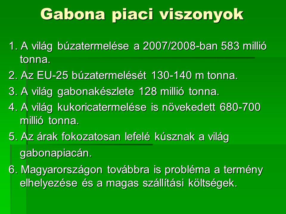Gabona piaci viszonyok 1. A világ búzatermelése a 2007/2008-ban 583 millió tonna. 2. Az EU-25 búzatermelését 130-140 m tonna. 3. A világ gabonakészlet