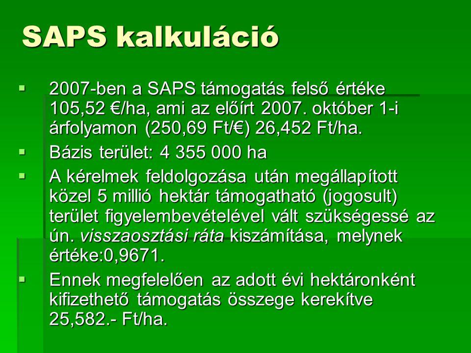 SAPS kalkuláció  2007-ben a SAPS támogatás felső értéke 105,52 €/ha, ami az előírt 2007. október 1-i árfolyamon (250,69 Ft/€) 26,452 Ft/ha.  Bázis t