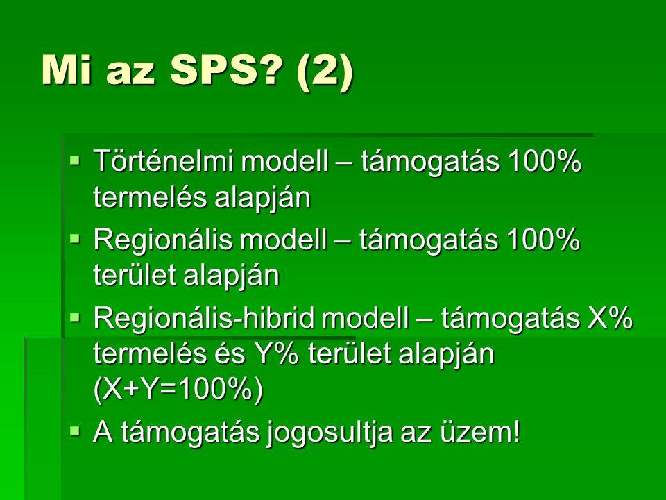 Mi az SPS? (2)  Történelmi modell – támogatás 100% termelés alapján  Regionális modell – támogatás 100% terület alapján  Regionális-hibrid modell –