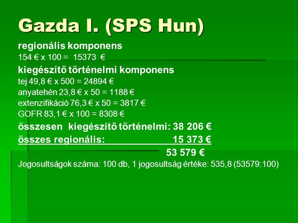 Gazda I. (SPS Hun) regionális komponens 154 € x 100 = 15373 € kiegészítő történelmi komponens tej 49,8 € x 500 = 24894 € anyatehén 23,8 € x 50 = 1188