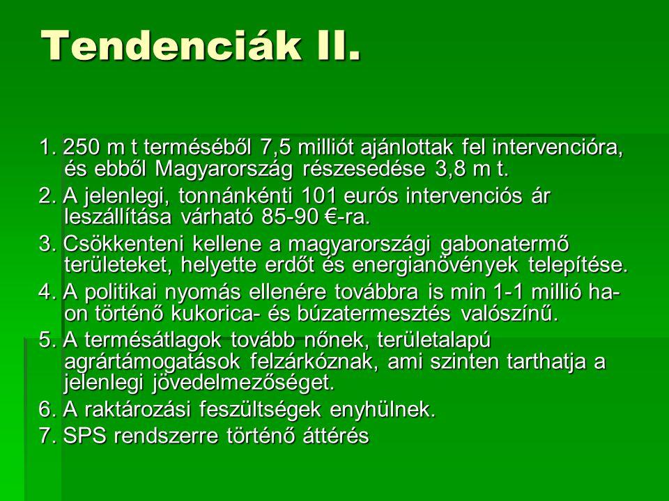 Tendenciák II. 1. 250 m t terméséből 7,5 milliót ajánlottak fel intervencióra, és ebből Magyarország részesedése 3,8 m t. 2. A jelenlegi, tonnánkénti