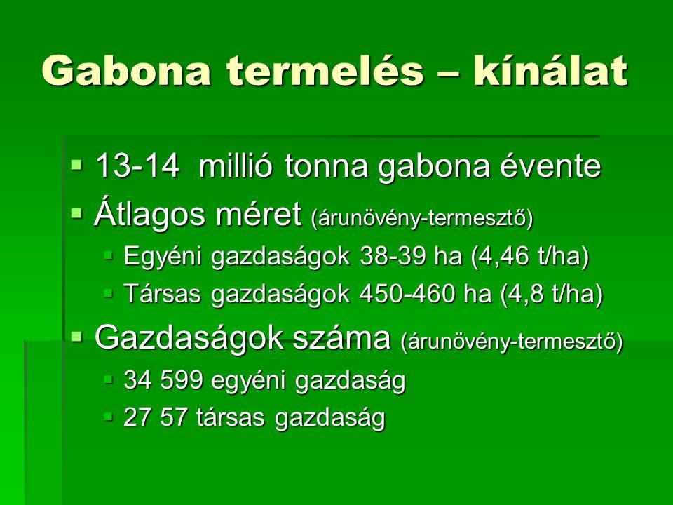 Gabona termelés – kínálat  13-14 millió tonna gabona évente  Átlagos méret (árunövény-termesztő)  Egyéni gazdaságok 38-39 ha (4,46 t/ha)  Társas g