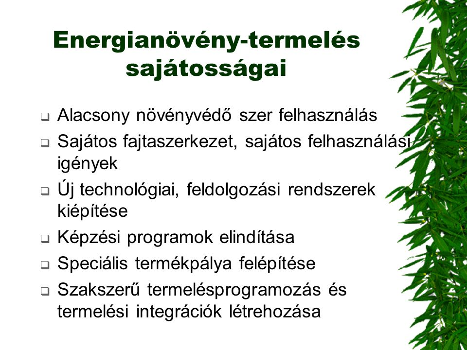 Energianövény-termelés sajátosságai  Alacsony növényvédő szer felhasználás  Sajátos fajtaszerkezet, sajátos felhasználási igények  Új technológiai,