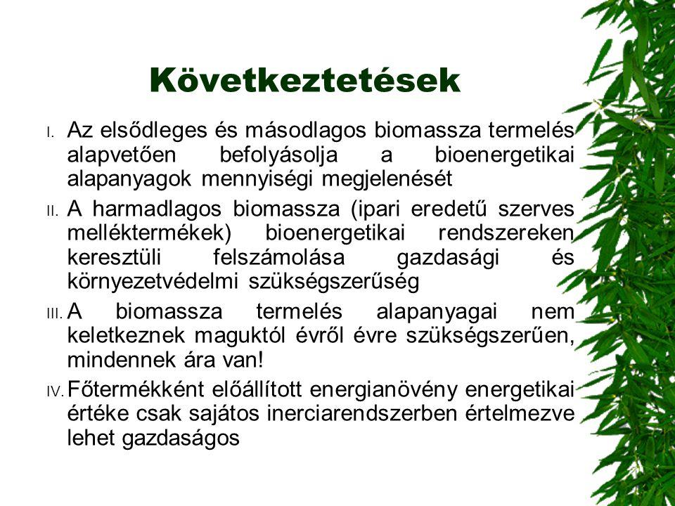 Következtetések I. Az elsődleges és másodlagos biomassza termelés alapvetően befolyásolja a bioenergetikai alapanyagok mennyiségi megjelenését II. A h
