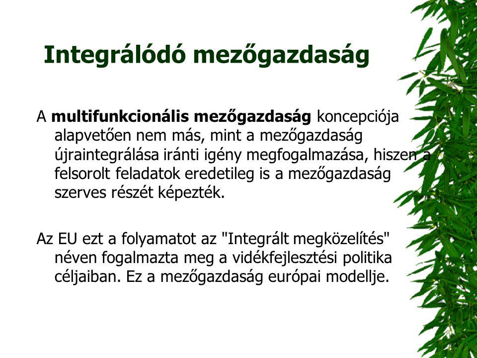 Integrálódó mezőgazdaság A multifunkcionális mezőgazdaság koncepciója alapvetően nem más, mint a mezőgazdaság újraintegrálása iránti igény megfogalmaz