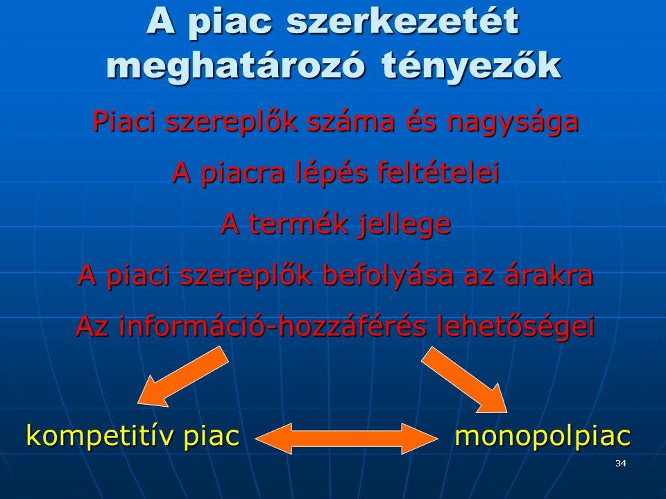 34 A piac szerkezetét meghatározó tényezők Piaci szereplők száma és nagysága A piacra lépés feltételei A termék jellege A piaci szereplők befolyása az
