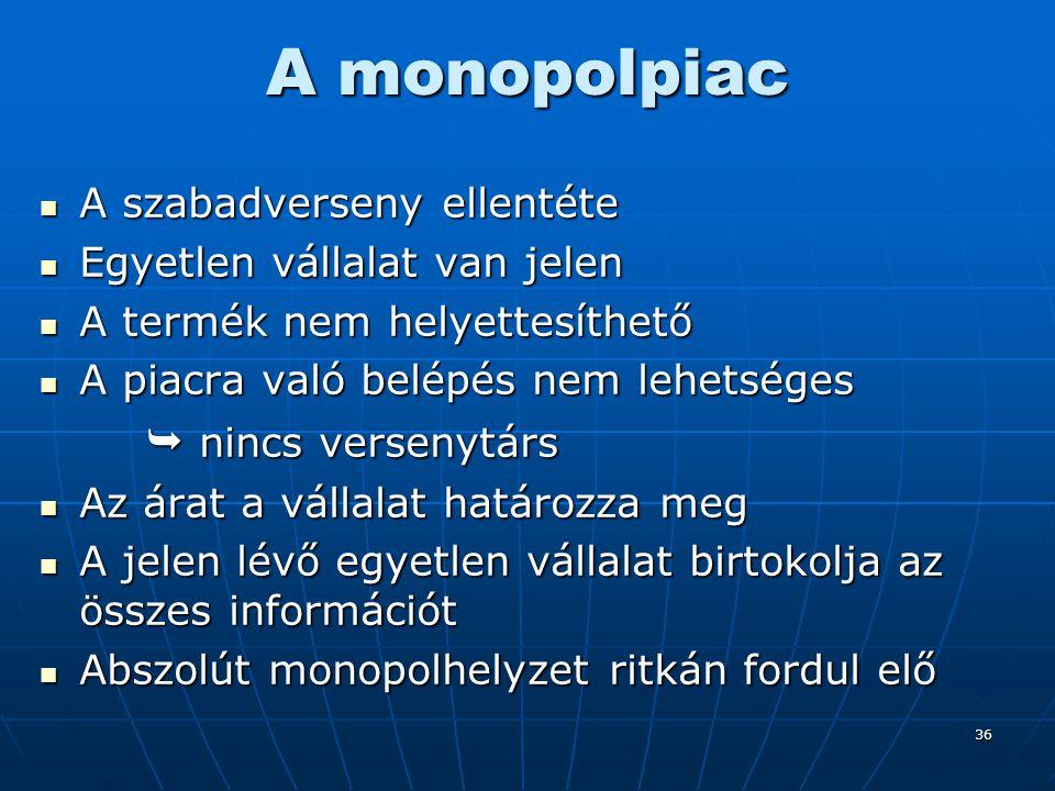 36 A monopolpiac A szabadverseny ellentéte A szabadverseny ellentéte Egyetlen vállalat van jelen Egyetlen vállalat van jelen A termék nem helyettesíth