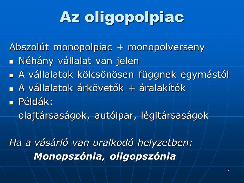 37 Az oligopolpiac Abszolút monopolpiac + monopolverseny Néhány vállalat van jelen Néhány vállalat van jelen A vállalatok kölcsönösen függnek egymástó