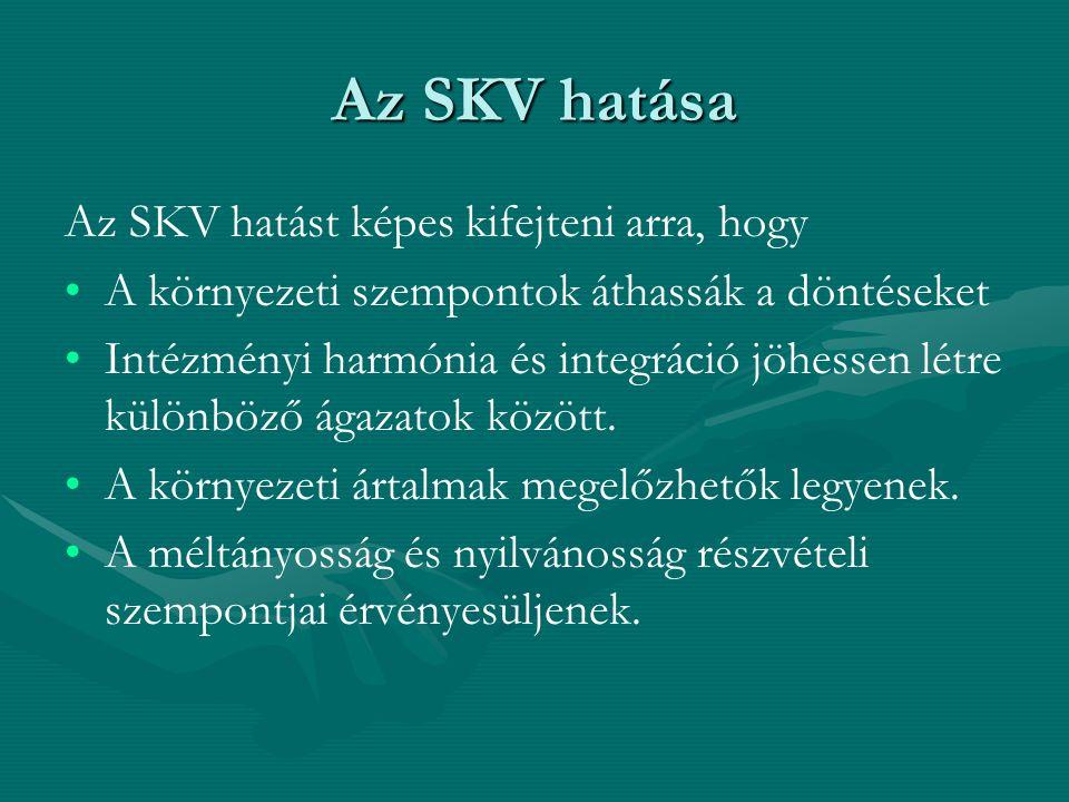 Az SKV hatása Az SKV hatást képes kifejteni arra, hogy A környezeti szempontok áthassák a döntéseket Intézményi harmónia és integráció jöhessen létre különböző ágazatok között.