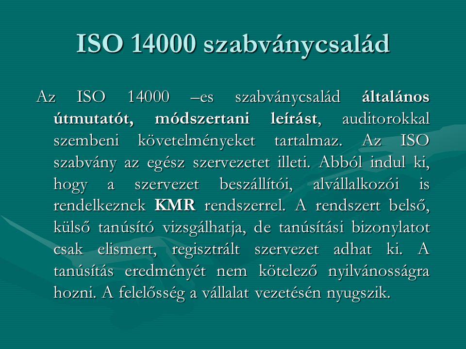 ISO 14000 szabványcsalád Az ISO 14000 –es szabványcsalád általános útmutatót, módszertani leírást, auditorokkal szembeni követelményeket tartalmaz.