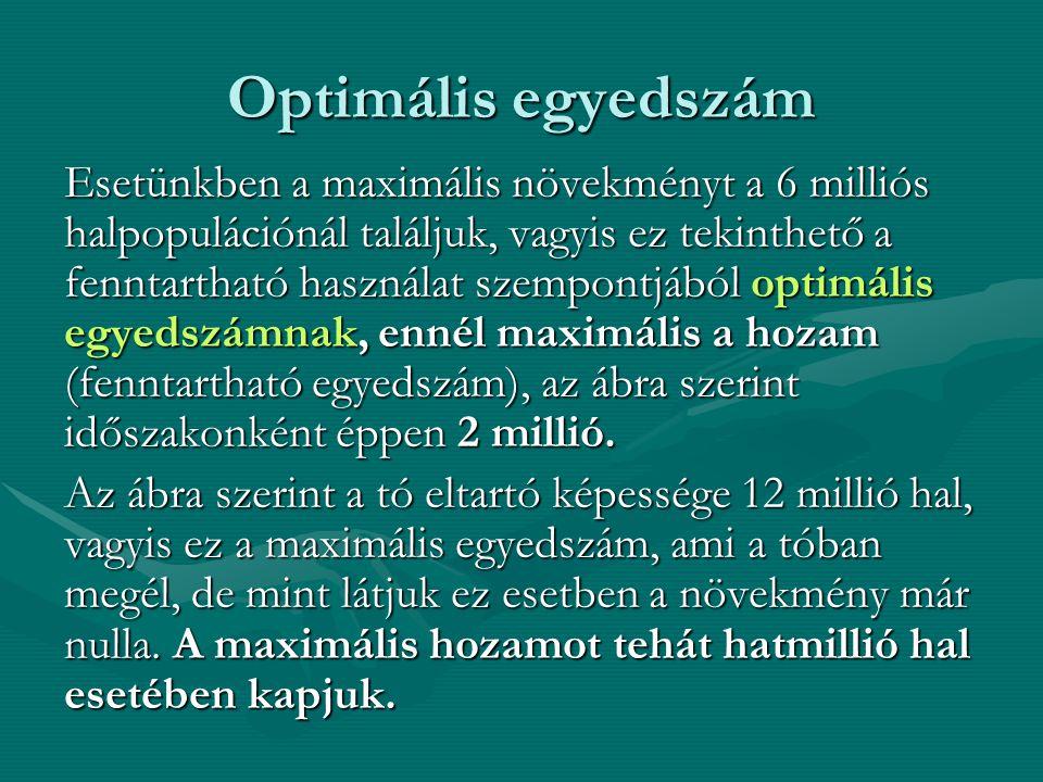 Optimális egyedszám Esetünkben a maximális növekményt a 6 milliós halpopulációnál találjuk, vagyis ez tekinthető a fenntartható használat szempontjából optimális egyedszámnak, ennél maximális a hozam (fenntartható egyedszám), az ábra szerint időszakonként éppen 2 millió.