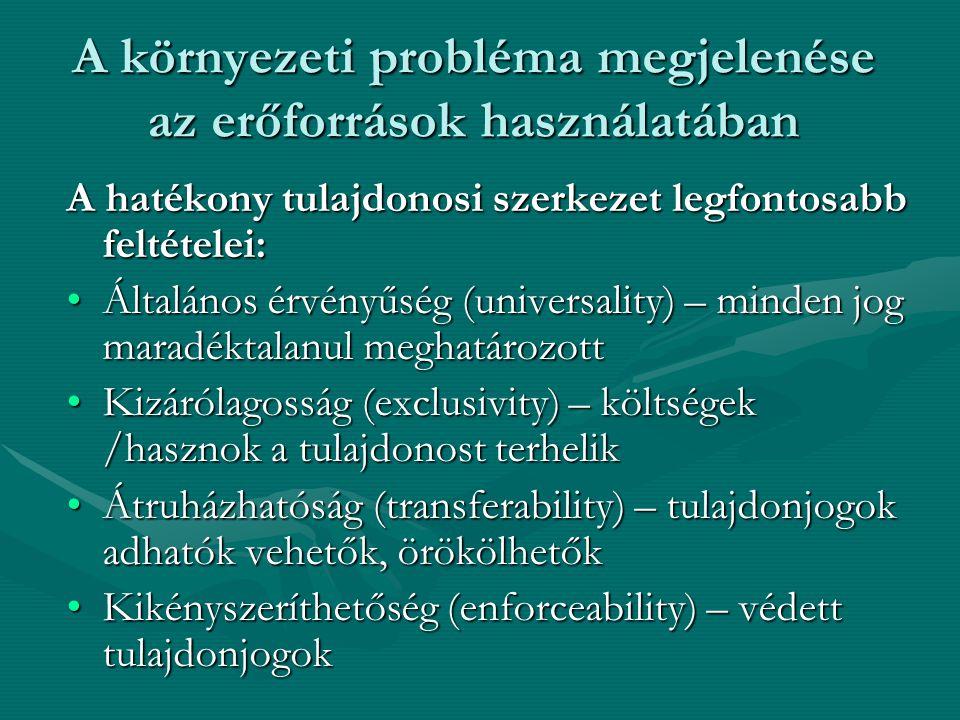 A környezeti probléma megjelenése az erőforrások használatában A hatékony tulajdonosi szerkezet legfontosabb feltételei: Általános érvényűség (universality) – minden jog maradéktalanul meghatározottÁltalános érvényűség (universality) – minden jog maradéktalanul meghatározott Kizárólagosság (exclusivity) – költségek /hasznok a tulajdonost terhelikKizárólagosság (exclusivity) – költségek /hasznok a tulajdonost terhelik Átruházhatóság (transferability) – tulajdonjogok adhatók vehetők, örökölhetőkÁtruházhatóság (transferability) – tulajdonjogok adhatók vehetők, örökölhetők Kikényszeríthetőség (enforceability) – védett tulajdonjogokKikényszeríthetőség (enforceability) – védett tulajdonjogok