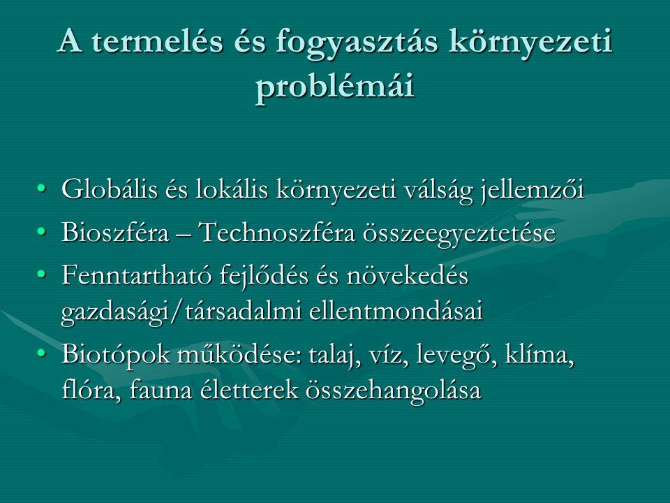 A termelés és fogyasztás környezeti problémái Globális és lokális környezeti válság jellemzőiGlobális és lokális környezeti válság jellemzői Bioszféra – Technoszféra összeegyeztetéseBioszféra – Technoszféra összeegyeztetése Fenntartható fejlődés és növekedés gazdasági/társadalmi ellentmondásaiFenntartható fejlődés és növekedés gazdasági/társadalmi ellentmondásai Biotópok működése: talaj, víz, levegő, klíma, flóra, fauna életterek összehangolásaBiotópok működése: talaj, víz, levegő, klíma, flóra, fauna életterek összehangolása