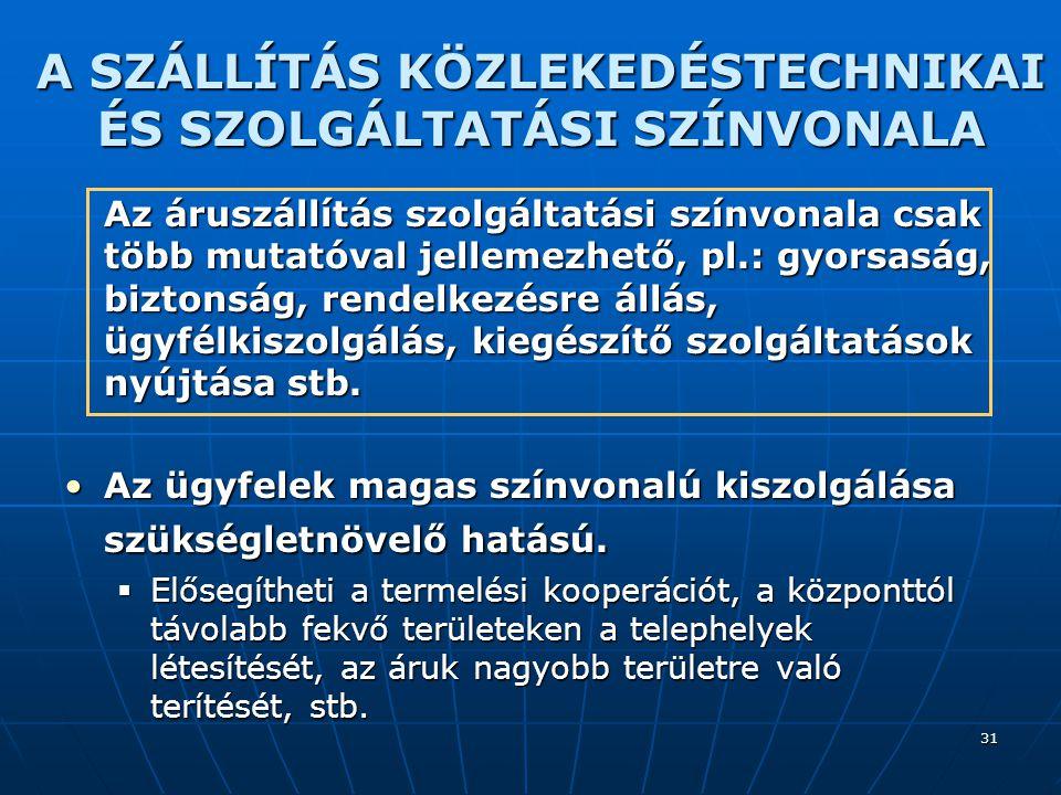 31 A SZÁLLÍTÁS KÖZLEKEDÉSTECHNIKAI ÉS SZOLGÁLTATÁSI SZÍNVONALA Az áruszállítás szolgáltatási színvonala csak több mutatóval jellemezhető, pl.: gyorsas