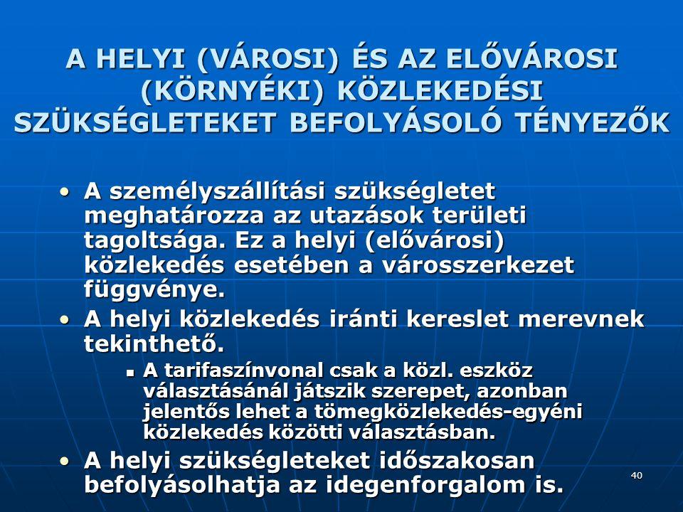 40 A HELYI (VÁROSI) ÉS AZ ELŐVÁROSI (KÖRNYÉKI) KÖZLEKEDÉSI SZÜKSÉGLETEKET BEFOLYÁSOLÓ TÉNYEZŐK A személyszállítási szükségletet meghatározza az utazás
