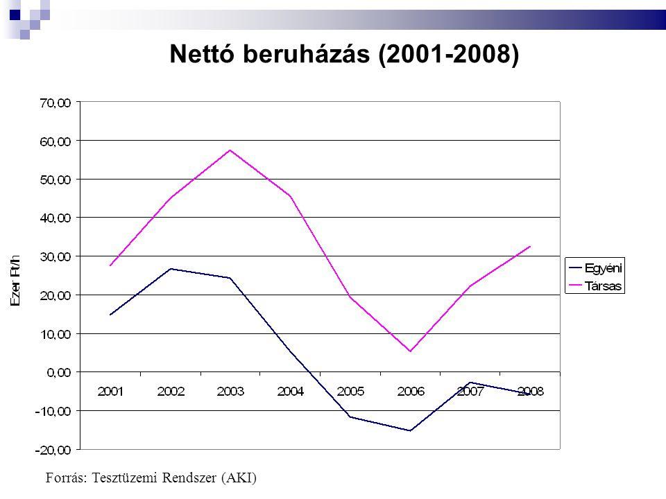 Nettó beruházás (2001-2008) Forrás: Tesztüzemi Rendszer (AKI)