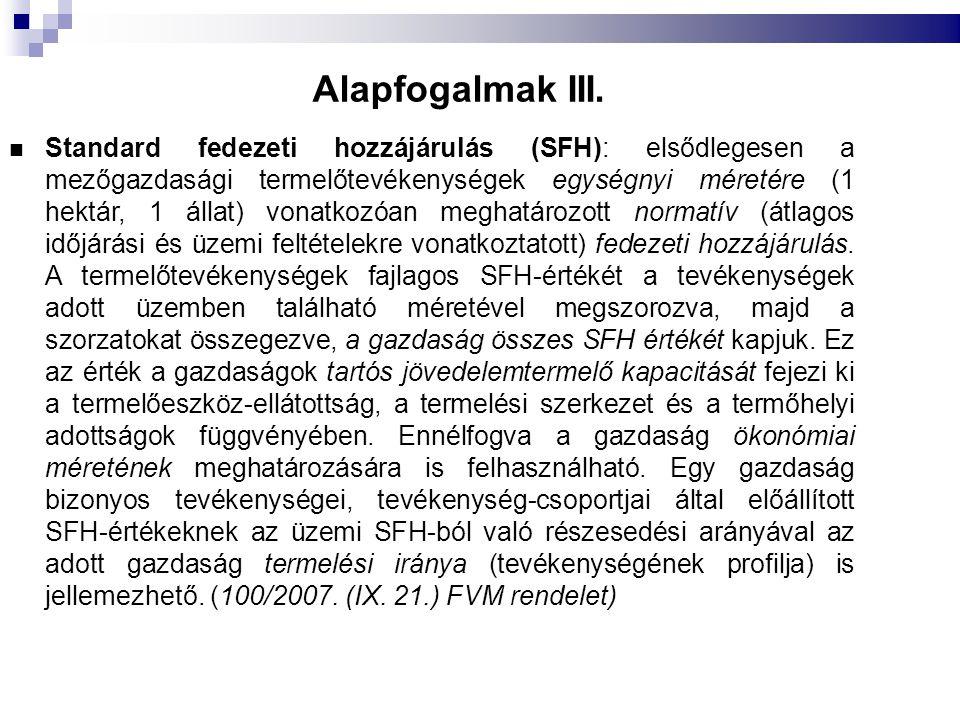 Alapfogalmak III. Standard fedezeti hozzájárulás (SFH): elsődlegesen a mezőgazdasági termelőtevékenységek egységnyi méretére (1 hektár, 1 állat) vonat