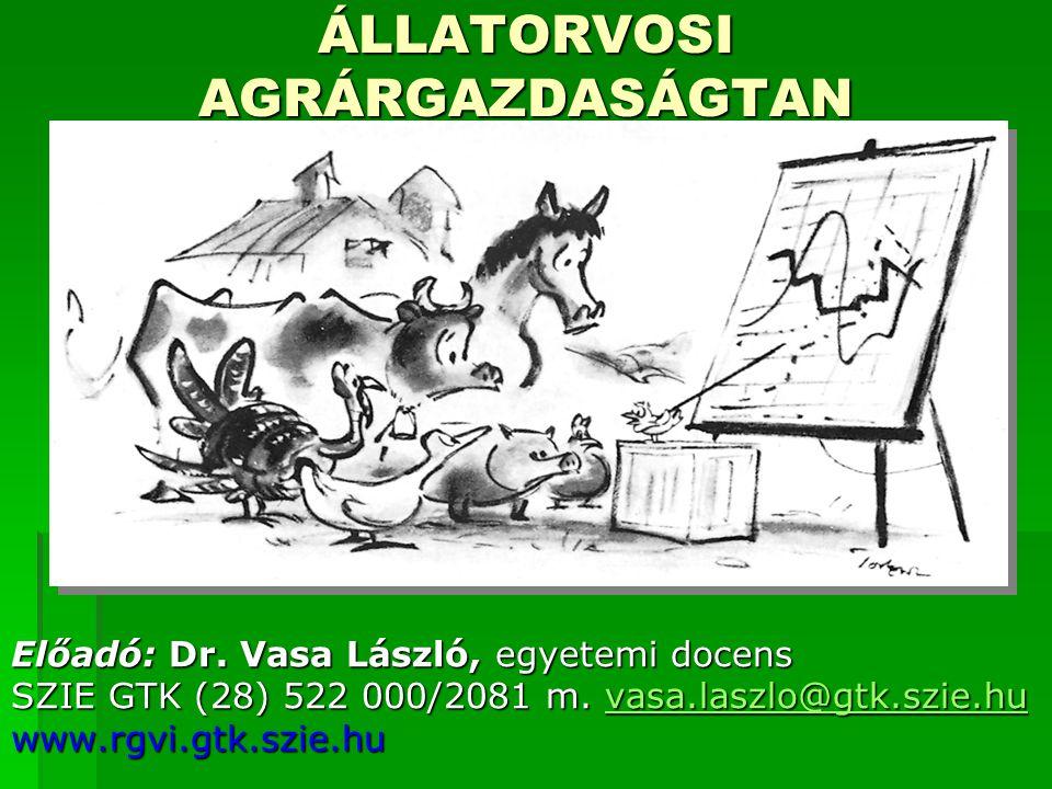 ÁLLATORVOSI AGRÁRGAZDASÁGTAN Előadó: Dr. Vasa László, egyetemi docens SZIE GTK (28) 522 000/2081 m. vasa.laszlo@gtk.szie.hu vasa.laszlo@gtk.szie.hu ww