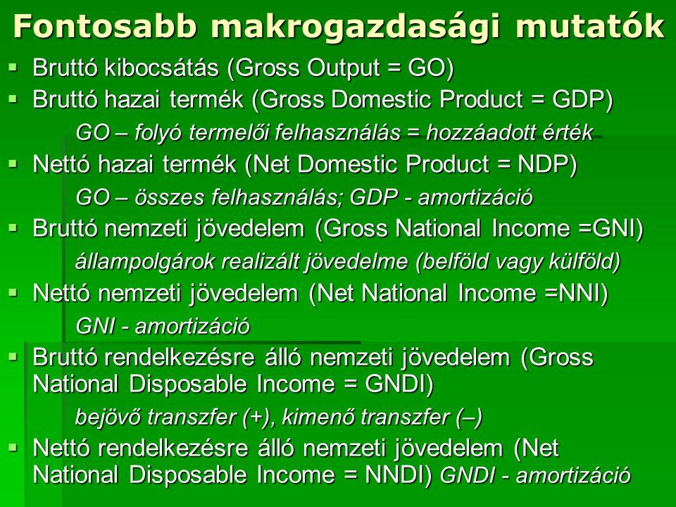 Fontosabb makrogazdasági mutatók  Bruttó kibocsátás (Gross Output = GO)  Bruttó hazai termék (Gross Domestic Product = GDP) GO – folyó termelői felh