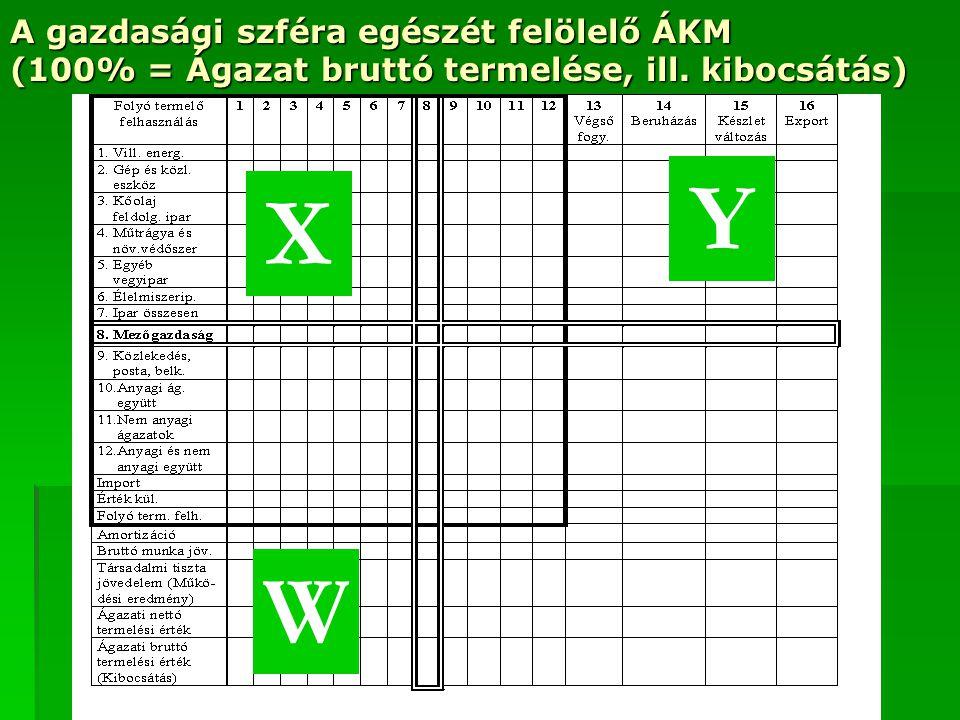 A gazdasági szféra egészét felölelő ÁKM (100% = Ágazat bruttó termelése, ill. kibocsátás) X Y W