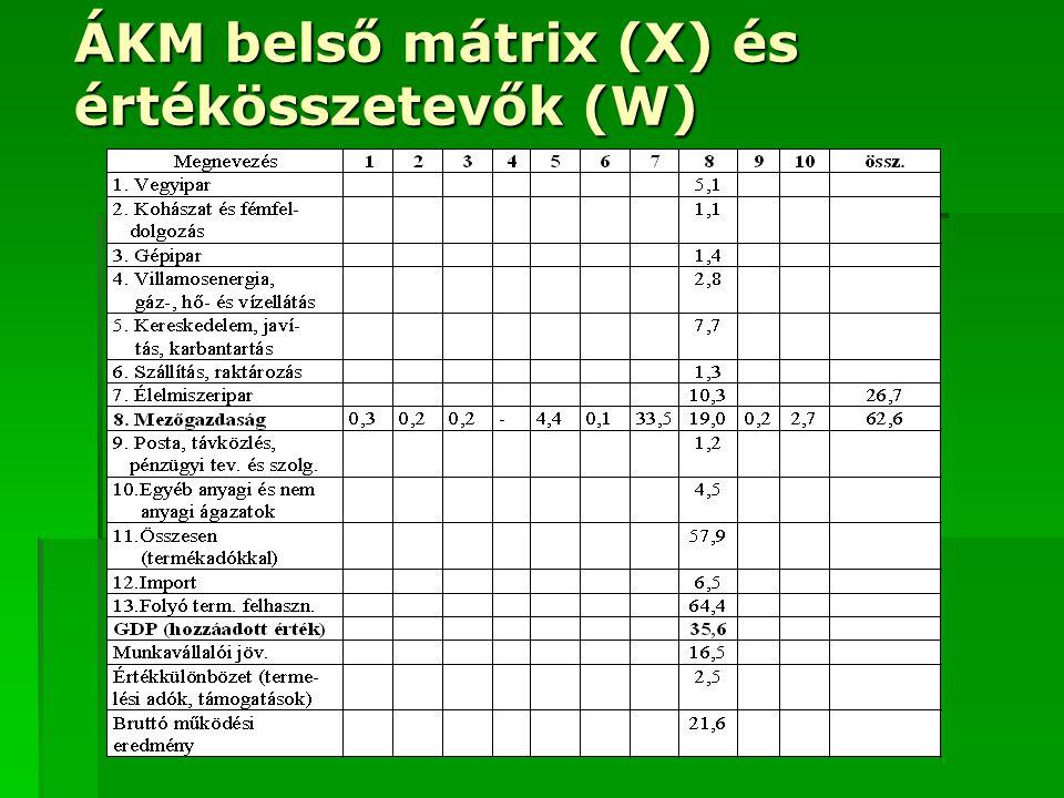 ÁKM belső mátrix (X) és értékösszetevők (W)