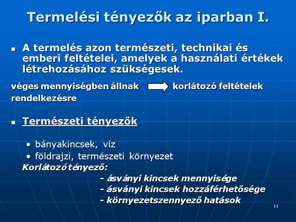 11 Termelési tényezők az iparban I.