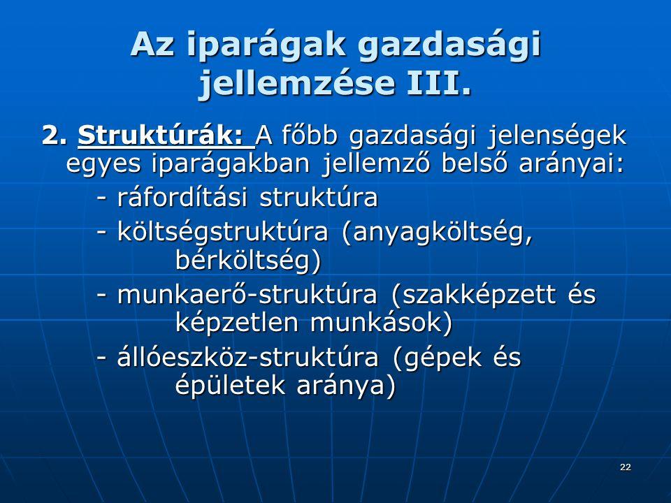 22 Az iparágak gazdasági jellemzése III.2.