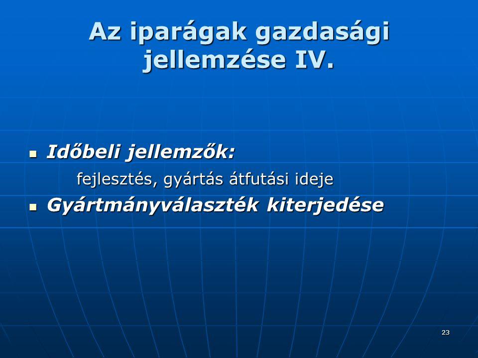 23 Az iparágak gazdasági jellemzése IV.