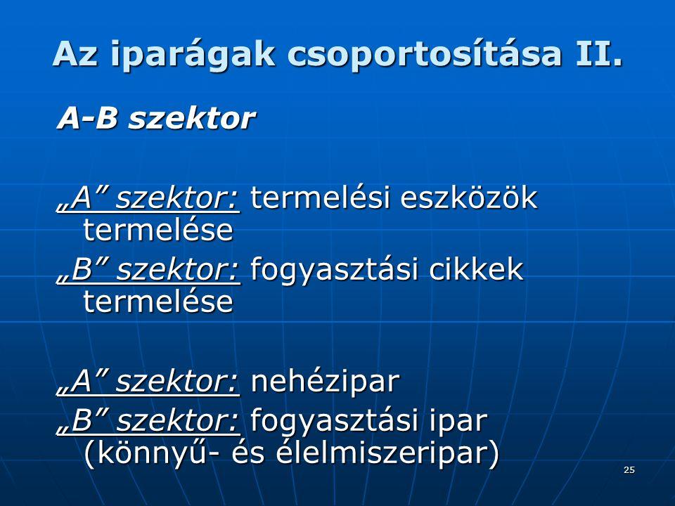 25 Az iparágak csoportosítása II.