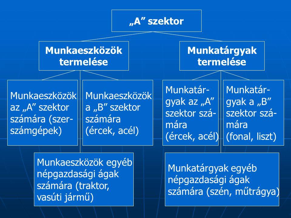 """26 """"A szektor Munkaeszközök termelése Munkatárgyak termelése Munkaeszközök az """"A szektor számára (szer- számgépek) Munkaeszközök a """"B szektor számára (ércek, acél) Munkaeszközök egyéb népgazdasági ágak számára (traktor, vasúti jármű) Munkatár- gyak az """"A szektor szá- mára (ércek, acél) Munkatár- gyak a """"B szektor szá- mára (fonal, liszt) Munkatárgyak egyéb népgazdasági ágak számára (szén, műtrágya)"""