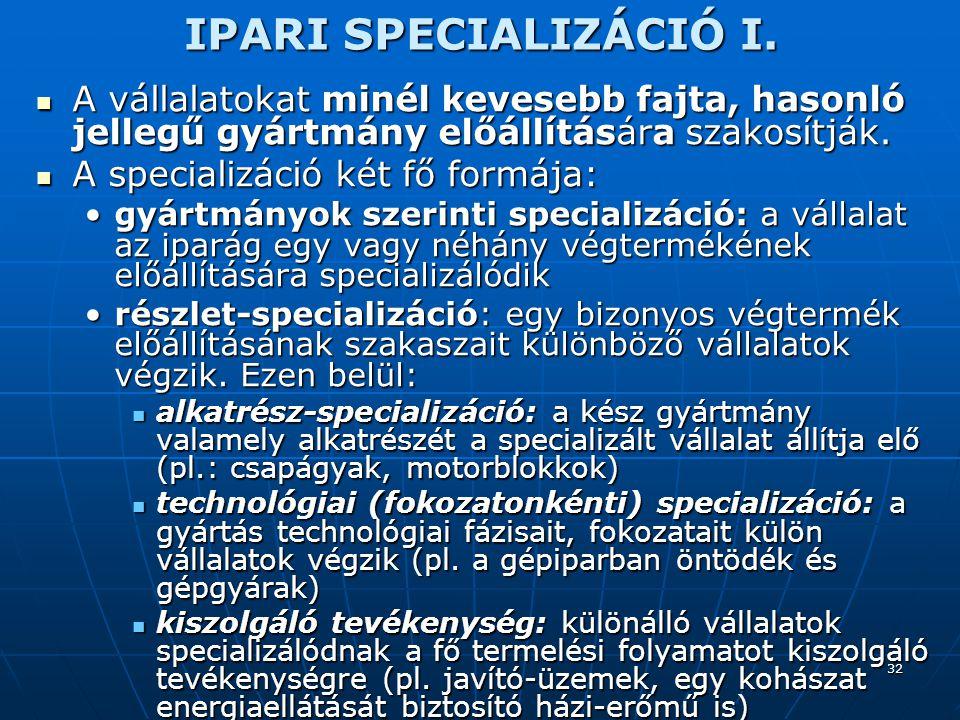 32 IPARI SPECIALIZÁCIÓ I.