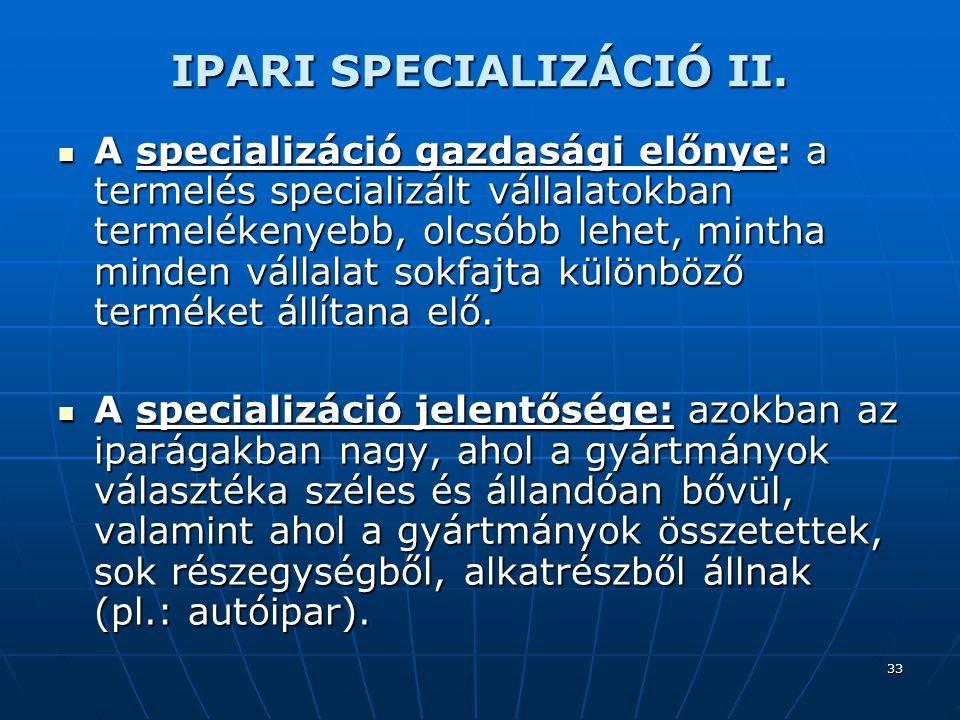 33 IPARI SPECIALIZÁCIÓ II.