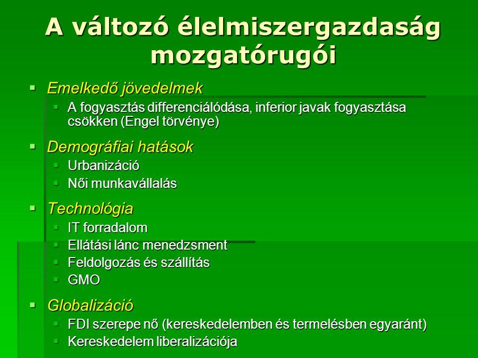 A változó élelmiszergazdaság mozgatórugói  Emelkedő jövedelmek  A fogyasztás differenciálódása, inferior javak fogyasztása csökken (Engel törvénye)  Demográfiai hatások  Urbanizáció  Női munkavállalás  Technológia  IT forradalom  Ellátási lánc menedzsment  Feldolgozás és szállítás  GMO  Globalizáció  FDI szerepe nő (kereskedelemben és termelésben egyaránt)  Kereskedelem liberalizációja