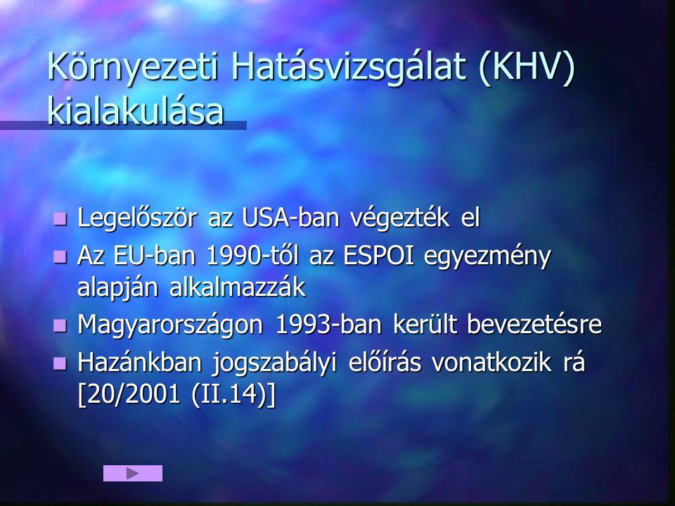 Környezeti Hatásvizsgálat (KHV) kialakulása Legelőször az USA-ban végezték el Legelőször az USA-ban végezték el Az EU-ban 1990-től az ESPOI egyezmény alapján alkalmazzák Az EU-ban 1990-től az ESPOI egyezmény alapján alkalmazzák Magyarországon 1993-ban került bevezetésre Magyarországon 1993-ban került bevezetésre Hazánkban jogszabályi előírás vonatkozik rá [20/2001 (II.14)] Hazánkban jogszabályi előírás vonatkozik rá [20/2001 (II.14)]