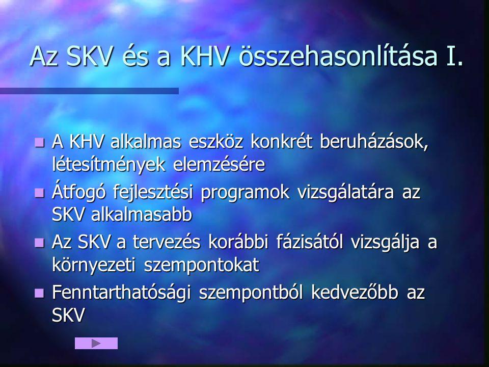 Az SKV és a KHV összehasonlítása I. A KHV alkalmas eszköz konkrét beruházások, létesítmények elemzésére A KHV alkalmas eszköz konkrét beruházások, lét