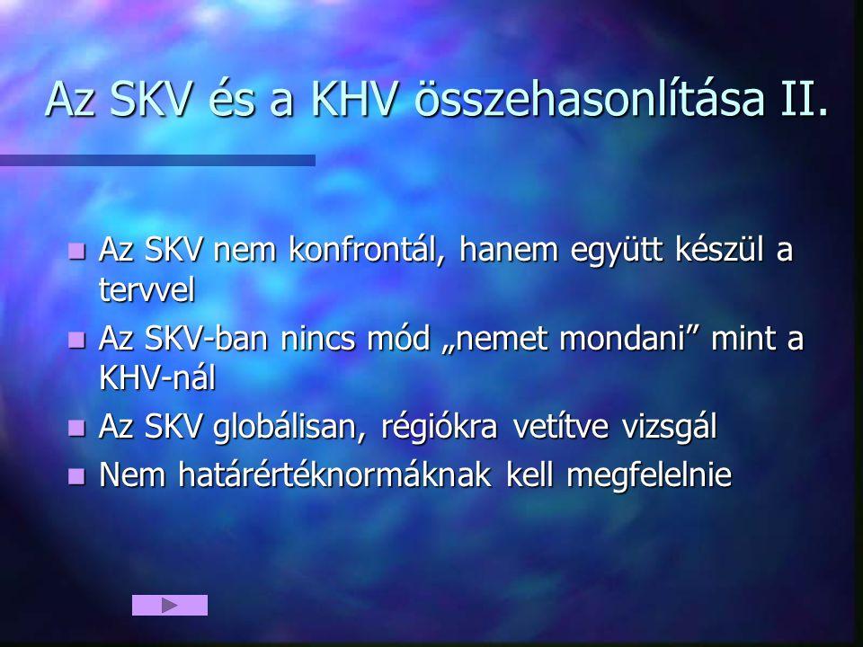 Az SKV és a KHV összehasonlítása II. Az SKV nem konfrontál, hanem együtt készül a tervvel Az SKV nem konfrontál, hanem együtt készül a tervvel Az SKV-