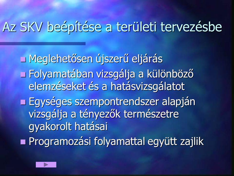 Az SKV beépítése a területi tervezésbe Meglehetősen újszerű eljárás Meglehetősen újszerű eljárás Folyamatában vizsgálja a különböző elemzéseket és a h