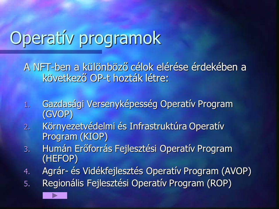 Operatív programok A NFT-ben a különböző célok elérése érdekében a következő OP-t hozták létre: 1. Gazdasági Versenyképesség Operatív Program (GVOP) 2