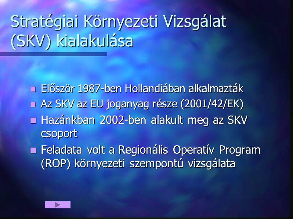 Stratégiai Környezeti Vizsgálat (SKV) kialakulása Először 1987-ben Hollandiában alkalmazták Először 1987-ben Hollandiában alkalmazták Az SKV az EU joganyag része (2001/42/EK) Az SKV az EU joganyag része (2001/42/EK) Hazánkban 2002-ben alakult meg az SKV csoport Hazánkban 2002-ben alakult meg az SKV csoport Feladata volt a Regionális Operatív Program (ROP) környezeti szempontú vizsgálata Feladata volt a Regionális Operatív Program (ROP) környezeti szempontú vizsgálata