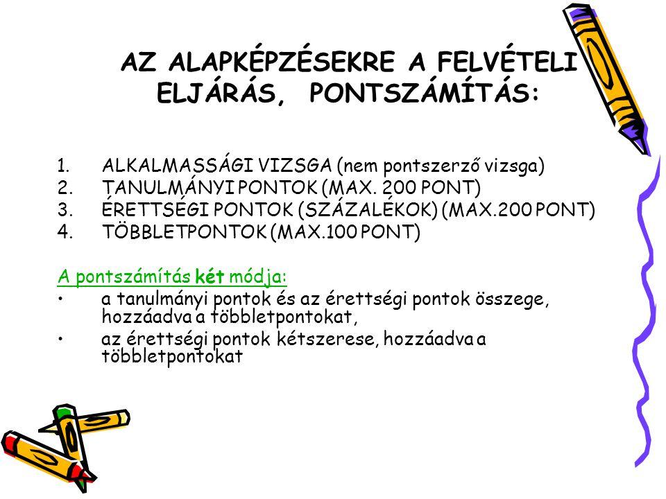 AZ ALAPKÉPZÉSEKRE A FELVÉTELI ELJÁRÁS, PONTSZÁMÍTÁS: 1.ALKALMASSÁGI VIZSGA (nem pontszerző vizsga) 2.TANULMÁNYI PONTOK (MAX. 200 PONT) 3.ÉRETTSÉGI PON