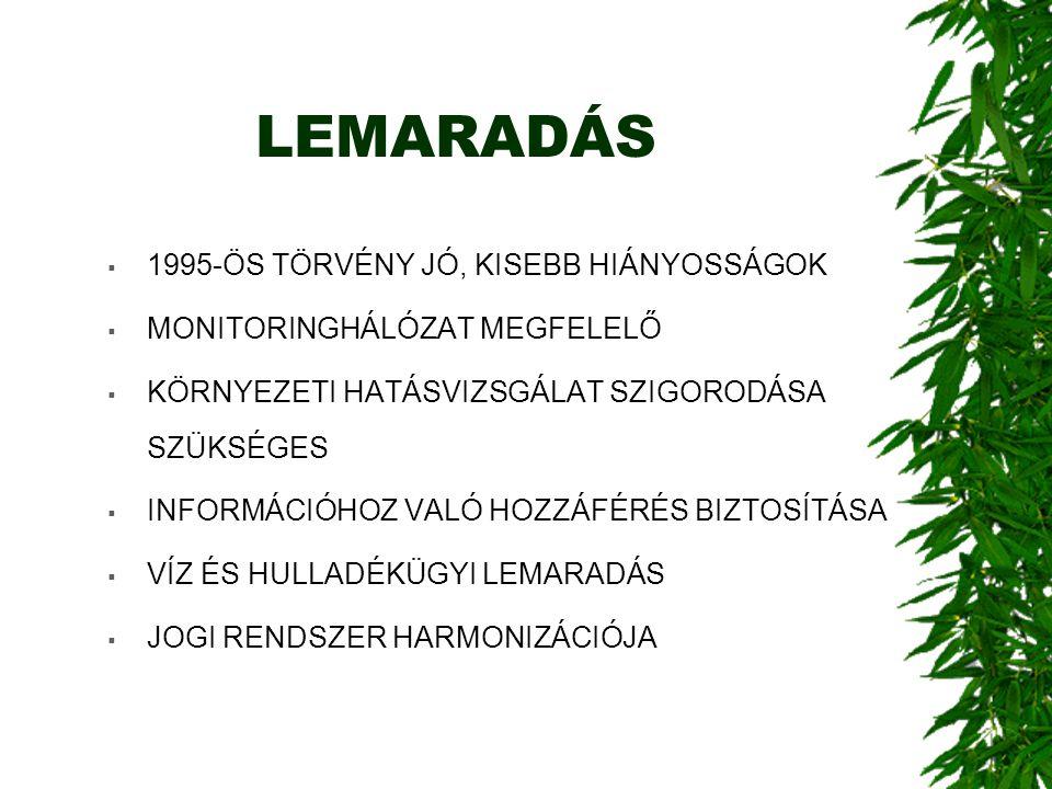 LEMARADÁS  1995-ÖS TÖRVÉNY JÓ, KISEBB HIÁNYOSSÁGOK  MONITORINGHÁLÓZAT MEGFELELŐ  KÖRNYEZETI HATÁSVIZSGÁLAT SZIGORODÁSA SZÜKSÉGES  INFORMÁCIÓHOZ VALÓ HOZZÁFÉRÉS BIZTOSÍTÁSA  VÍZ ÉS HULLADÉKÜGYI LEMARADÁS  JOGI RENDSZER HARMONIZÁCIÓJA