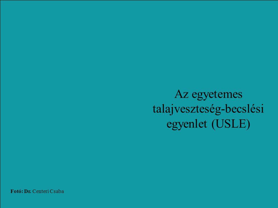 Fotó: Dr. Centeri Csaba Az egyetemes talajveszteség-becslési egyenlet (USLE)