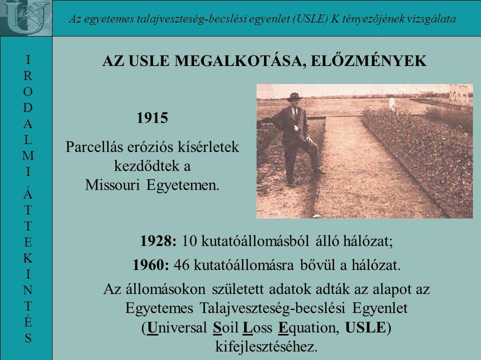 Az egyetemes talajveszteség-becslési egyenlet (USLE) K tényezőjének vizsgálata IRODALMI ÁTTEKINTÉSIRODALMI ÁTTEKINTÉS 1928: 10 kutatóállomásból álló hálózat; 1960: 46 kutatóállomásra bővül a hálózat.