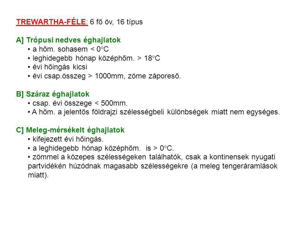 TREWARTHA-FÉLE: 6 fő öv, 16 típus A] Trópusi nedves éghajlatok a hőm.