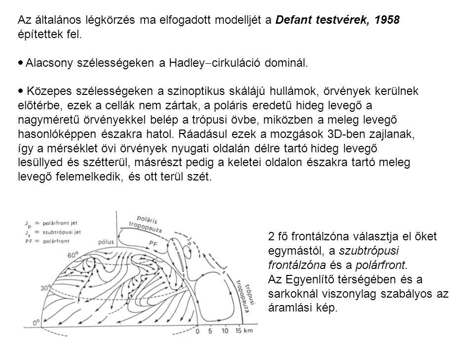 Az általános légkörzés ma elfogadott modelljét a Defant testvérek, 1958 építettek fel.  Alacsony szélességeken a Hadley  cirkuláció dominál.  Közep