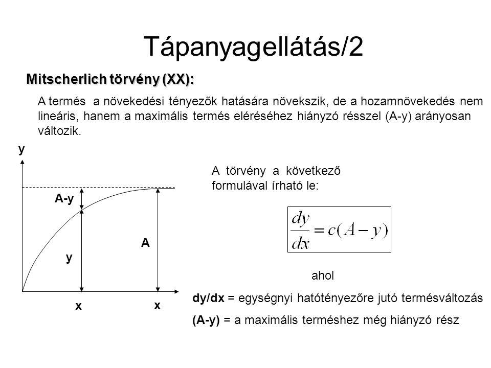 Tápanyagellátás/2 Mitscherlich törvény (XX): A termés a növekedési tényezők hatására növekszik, de a hozamnövekedés nem lineáris, hanem a maximális te