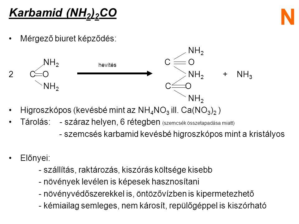 Karbamid (NH 2 ) 2 CO Mérgező biuret képződés: NH 2 NH 2hevítés CO 2 C ONH 2 + NH 3 NH 2 C O NH 2 Higroszkópos (kevésbé mint az NH 4 NO 3 ill. Ca(NO 3