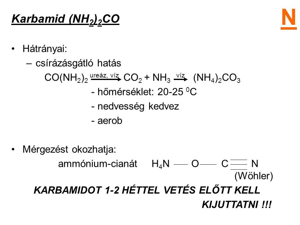 Karbamid (NH 2 ) 2 CO Hátrányai: –csírázásgátló hatás CO(NH 2 ) 2 ureáz, víz CO 2 + NH 3 víz (NH 4 ) 2 CO 3 - hőmérséklet: 20-25 0 C - nedvesség kedve
