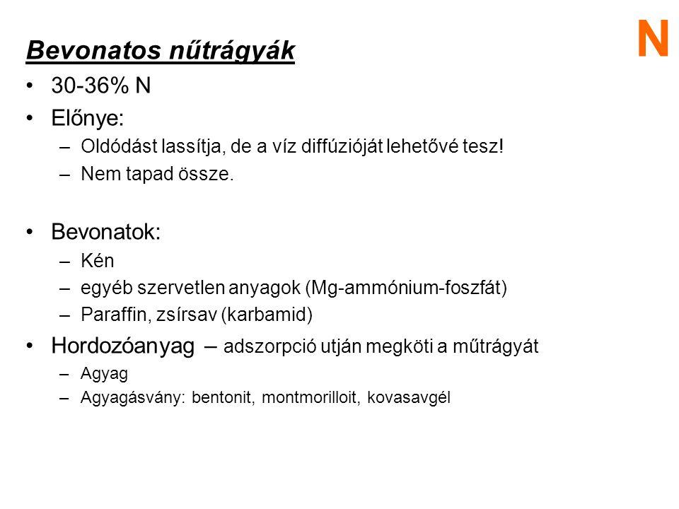 Bevonatos nűtrágyák 30-36% N Előnye: –Oldódást lassítja, de a víz diffúzióját lehetővé tesz! –Nem tapad össze. Bevonatok: –Kén –egyéb szervetlen anyag