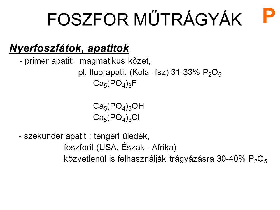 Nyerfoszfátok, apatitok - primer apatit: magmatikus kőzet, pl. fluorapatit (Kola -fsz) 31-33% P 2 O 5 Ca 5 (PO 4 ) 3 F Ca 5 (PO 4 ) 3 OH Ca 5 (PO 4 )